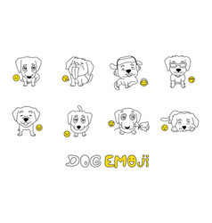 set of emojis with cute dog for coloring vector image vector image