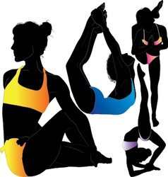 Yoga female gymnast silhouette vector image vector image
