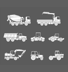 construction machines icons set silhouette vector image vector image