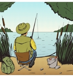Man fishing on lake pop art style vector image