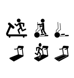 set of treadmill and elliptical icons and symbol vector image vector image