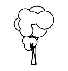 Sketch silhouette tree with rounded shape leaves vector