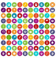100 learning icons set color vector image vector image