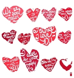 hearts with the different declarations of love vector image