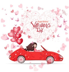 lovely girl in a car with red heart air balloons vector image vector image