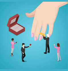 People putting wedding ring on brides hand vector