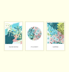 set of universal tropic style posters vector image vector image