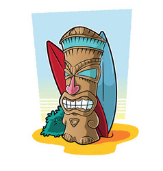 tiki totem in surf setting vector image vector image