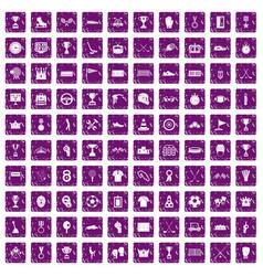 100 awards icons set grunge purple vector image