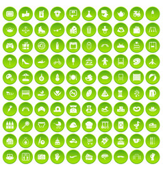 100 mother and child icons set green circle vector