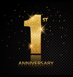 1st anniversary golden numbers isolated on black vector image
