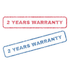 2 years warranty textile stamps vector