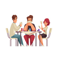 Adults playing cards composition vector