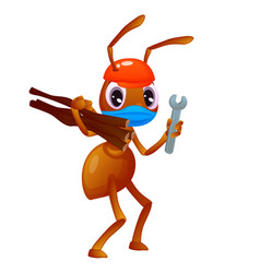 An ant with a hat and a face mask is carrying vector
