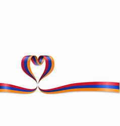 armenian flag heart-shaped ribbon vector image
