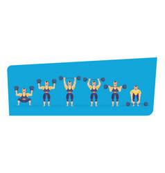 Athlete character showing strength exercises with vector