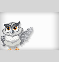 Background template with plain color and snow owl vector