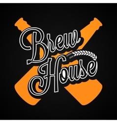 Beer Bottles Logo Brew House Label Background vector image