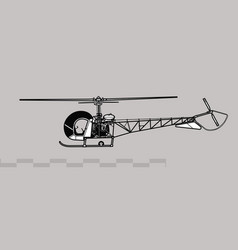 Bell h-13 sioux light observation helicopter vector