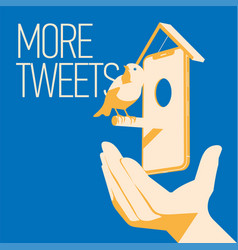 blue bird tweet mobile devise in hand more vector image