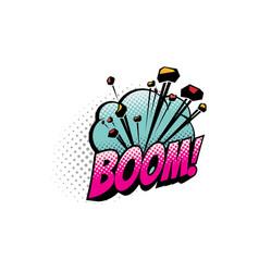 Boom cartoon comic book sound blast explosion vector