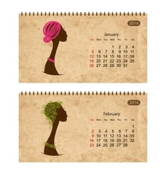 Calendar 2014 with female profile on grunge paper vector image