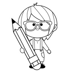 child holding a big pencil vector image
