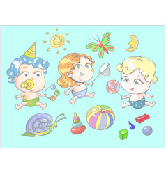 children playing with toys butterfly vector image