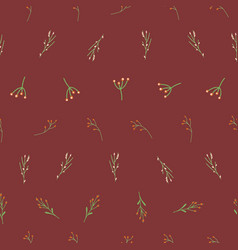 christmas florals seamless pattern vector image