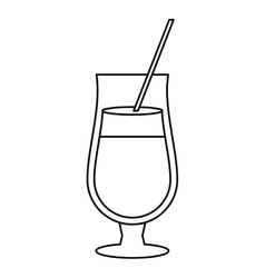 cocktail popular alcohol drink straw outline vector image