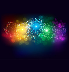 Colorful firework on black background vector