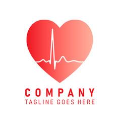company logo icon heart healthcare vector image