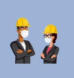 Contractors wearing hard hats and medical masks vector