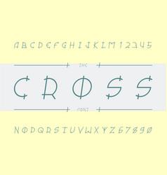 Cross font alphabet vector