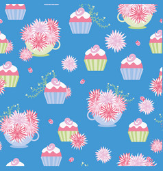 Cupcakes and teacups seamless pattern vector