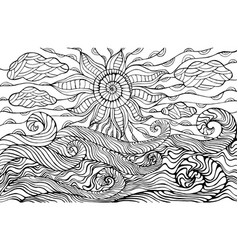 doodle sun clouds and ocean waves coloring page vector image