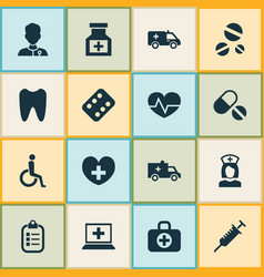 Drug icons set collection of bus remedy vector