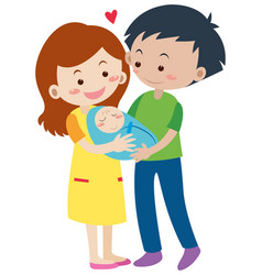 Family with parents and newborn baby vector