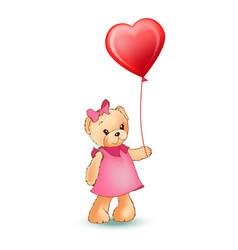female teddy bear with balloon vector image