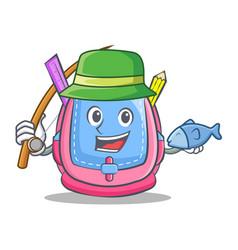 Fishing school bag character cartoon vector