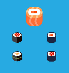 flat icon salmon set of sushi japanese food maki vector image