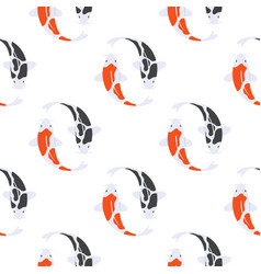 flat style seamless pattern with japanese koi fish vector image