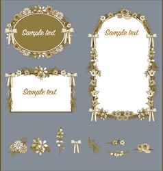 floral frames sepia wedding valentines card vector image