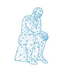 future man thinking nodes vector image