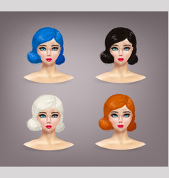 Girl fashion game beauty doll and for hair vector