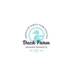 Hand drawn logo poultry duck silhouette and modern vector