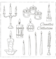 hand drawn set candles vector image