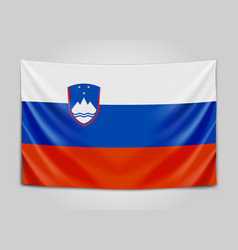 hanging flag of slovenia republic of slovenia vector image