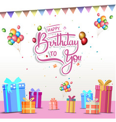 Happy birthday design with gift box balloon and vector