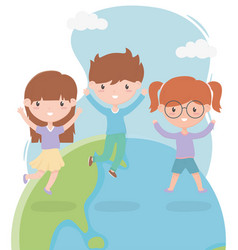 happy children day cute little boy and girls vector image